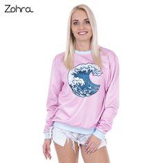 Zohra Fashion Wave Printed Hoodies Sweatshirt for Women Hoodie Fashion Pink Sudaderas Mujer Pullovers Sweatshirts