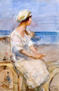 Isaac Israels (1865-1934) A lady at the beach