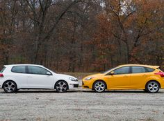 Ford Focus ST 2013 model year in a VW GTI comparison review