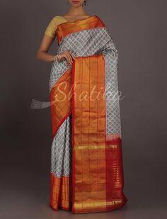 Sheetal Classic Grey Broad Contrast Border Pure #PatolaSilkSaree