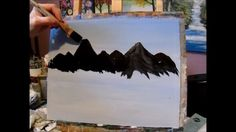 Easy techniques to painting a mountain, very easy and fun, great for the beginner..3 Easy steps and techniques to paintng a mountain, learning how to paint landscapes, seascapes, wildlife, flowers and so much more with Acrylic Paint. I didn't make the chalk lines to pronounced so you can make up your own mountain shape..