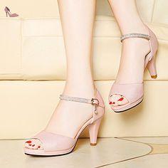RUGAI-UE La mode des femmes d'été confortables sandales hauts talons,40 l'or pâle