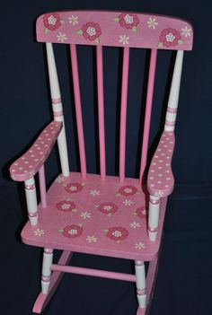 Childrens Rocking Chair Daisy Floral Design Kids by onmyown14, $175.00 ...