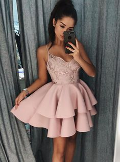 Short Homecoming Dresses Pink Prom Dress Homecoming Dresses 2018 Outlet Comely Prom Dress Short Spaghetti Straps Tiered Pink Satin Homecoming Dress With Sequins Cheap Homecoming Dresses, Hoco Dresses, Cute Dresses, Short Formal Dresses, Pink Dresses, Graduation Dresses, Party Dresses, Evening Dresses, Dress Prom