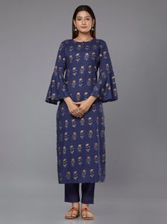 Blue Block Printed Cambric Cotton Kurta with Pants - Set of 2