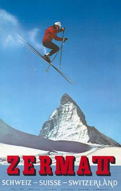 Zermatt, Switzerland Travel Poster by Alfred Perren-Barberini Ski Vintage, Vintage Ski Posters, Retro Poster, Poster S, Zermatt, Swiss Ski, Swiss Travel, Advertising History, Ski Jumping