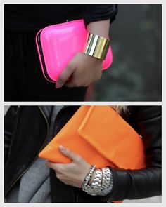 beautiful neon colored clutches add a lot to a dull outfit or with blacks