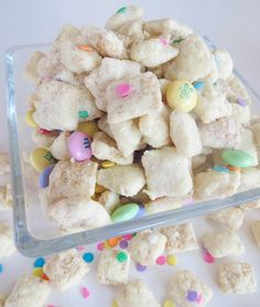 Cake Batter Easter Puppy Chow. So flavorful and so addictive! Takes only 10 minutes to make, so easy!