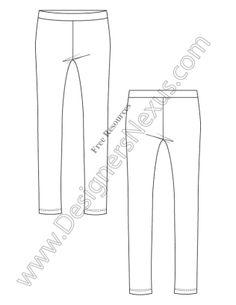 V5 Knit Leggings Free Illustrator Fashion Technical Drawing Template