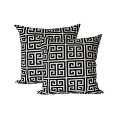 Two Black Greek Key Pillow Covers