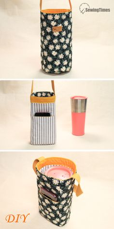 Small Sewing Projects, Sewing Projects For Beginners, Sewing Hacks, Sewing Tutorials, Sewing Crafts, Bag Tutorials, Diy Bottle, Bottle Holders, Bottle Bag