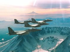 F-15 Eagle fighter jets from the Oregon Air National Guard, over Mt. St. Helens, Washington