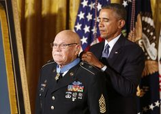 U.S. President Barack Obama awards the Medal of Honor to Army Command Sergeant Major Bennie G. Adkins for actions during the Vietnam War while in the East Room of the White House in Washington.  Killing well over a hundred enemy, saving several fallen comrades, and sustaining multiple wounds from hostile fire, retired SGM Bennie Adkins finally honored for incredible heroism.