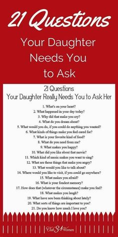 21 Questions Your Daughter Really Needs You to Ask Her Babypflege-Tipps in Telugu # ★ Erziehung ★ Source by . 21 Questions, Dating Questions, Couple Questions, Parenting Advice, Kids And Parenting, Parenting Classes, Peaceful Parenting, Natural Parenting, Gentle Parenting