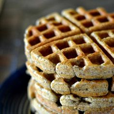 Whole Grain Flax Seed Waffles with zucchini in them!