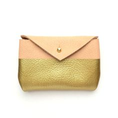 Natural Leather + Gold Card Case, Wallet with Brass Hardware