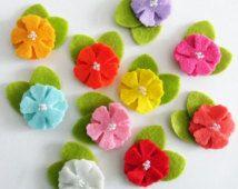 Flores de fieltro, apliques de fieltro, 10 piezas