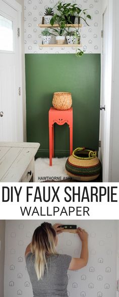 DIY Faux Sharpie Wallpaper: This green and this sharpie idea for the kids room