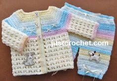Free baby crochet pattern for coat and pants set http://www.justcrochet.com/coat-pants-usa.html #justcrochet