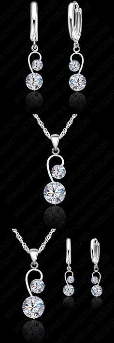 JEXXI Fine Pure 925 Sterling Silver Pendant Necklace + Lever Back Earring Sets, Two White Zircon Crystal Jewelry Set For Brides