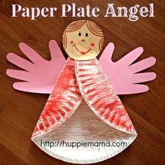 Angelo e Renna su piatto in carta - lavoretti bambini natale