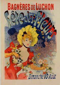 Fete des Fleurs, Jules Chéret - Publicado pelo L'imprimerie Chaix 1890, Art Nouveau