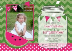 Watermelon Birthday Party Printable Invitation by MakinMemoriesOnPaper on Etsy, $12.00