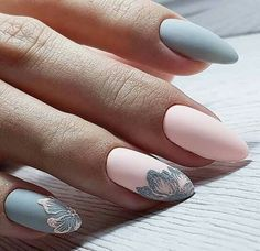 inch NAILS FRENCH grey and pink matte finish with contrasting florals. Now😚😚😚 Nails, nail art designs, nail designs, nail art, nail designs acrylic Spring Nail Art, Spring Nails, Cute Nails, Pretty Nails, Hair And Nails, My Nails, Diva Nails, Nagellack Design, Almond Acrylic Nails