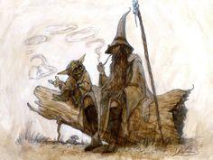そしてこのヨーダとガンダルフが語らうファンアートが好きです  #LOTR #Hobbit #STARWARS