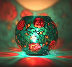 "Hand Painted Glass Vase "" Red Flowers"" Design Hand Painted Candle Holder Turquoise Aqua Green Vintage Look Home Decor Decorative Glass Art"