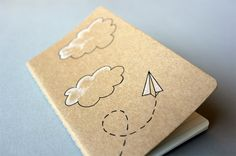 Hand Drawn Pocket Journal Moleskine Cahier Notebook - Paper Airplane Illustration. $12.00, via Etsy.