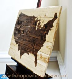 Wooden Wall Art DIY | Another} DIY Stained Wood Map - The Happier Homemaker | The Happier ...