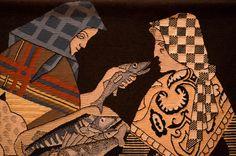 Detalle do tapiz 'Peixeiras', elaborado por Josefina Sedes segundo estampa de tinta chinesa sobre cartulina de Carlos Maside, 1929.  Foto: Manuel G. Vicente.