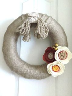 DAILY DEAL  Modern Minimal Wreath, Handcut Felt Flower Wreath -  Neutral Wall & Door Holiday Gift 12 inch