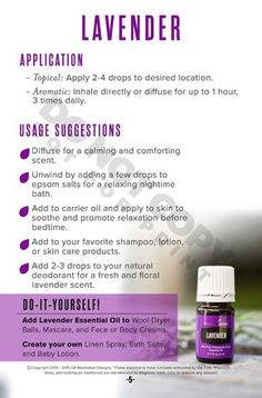 Lavender: Oily Families Essential Oil Starter Guide by Oil Revolution Designs issuu - Essential Oil - Ideas of Essential Oil Young Essential Oils, Essential Oil Starter Kit, Natural Essential Oils, Essential Oil Diffuser, Essential Oil Blends, Lavender Essential Oil Uses, Doterra, After Sun, Lotion