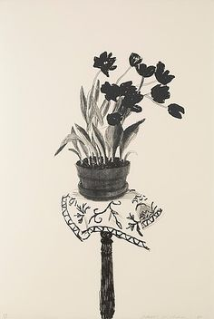 "DAVID HOCKNEY, ""Black tulips"". Lithograph, 1980, on BFK Rives paper, signed in pencil and.... - Contemporary & Design, Stockholm 561 – Bukowskis"