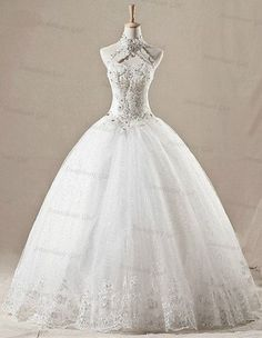 Vintage halter keyhole beaded dropped waistline long ball gown organza lace plus size wedding dress from ThingsInLove on Etsy. Bridal Dresses, Wedding Gowns, Prom Dresses, Lace Wedding, Church Wedding, Elegant Wedding, Perfect Wedding, Lace Ball Gowns, Plus Size Wedding