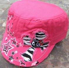 Girls Youth Pink Cadet Cap Hat with Zebra Cross Kitty Cat Rhinestones Stars NWT