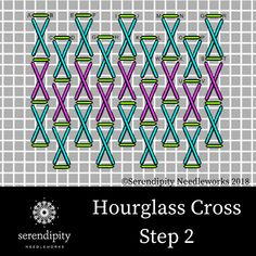 Hourglass Cross is great for stitching grassy meadows on your needlepoint projects.