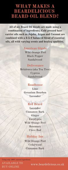 Infographic detailing the many ingredients used in my beardelicious beard oil blends. Diy Beard Oil, Beard Oil And Balm, Beard Balm, Homemade Beard Oil, Essential Oil For Men, Oils For Men, Essential Oil Blends, Doterra, Homemade Beauty