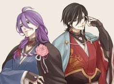If Kasen had longer hair and Izumi had shorter hair Touken Ranbu Kanesada, Manga Boy, Anime Guys, Sword, Samurai, Short Hair Styles, Kawaii, Cosplay, Fan Art