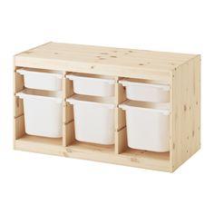 TROFAST Storage combination with boxes - pine white/white - IKEA