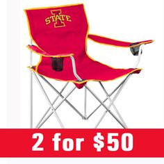 Iowa State (ISU) Cyclones deluxe folding chairs are now 2 for $50! Shop now: http://www.rallyhouse.com/college/iowa-state-cyclones/a/gifts/b/tailgating-gameday/c/chairs-tables/d/canvas-chair?utm_source=pinterest&utm_medium=social&utm_campaign=Pinterest-ISUCyclones