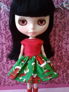 Blythe Christmas Dress The Grinch For Alex's by TickledPinkbyJulie, $15.00