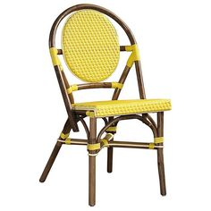 ♥ ♥ Paris Bistro Chair - Brown Rattan Frame, Yellow (Set of 2) ♥ ♥ - Discovered at www.dcgstores.com...