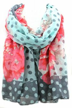 GS399 Polka Dot and Flower Print Scarf
