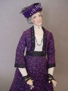 Inspired by Violet, the Dowager Countess of Grantham from Downton Abbey, this 5-inch high dollshouse doll is by Debbie Dixon-Paver