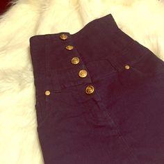 High waisted dark denim skirt Has gold functional buttons. Denim fabric is a little faded Twenty one Skirts