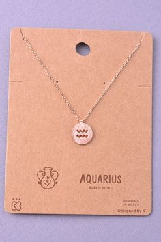 Description: Whether you're an Aquarius or your bestie is, this simple and dainty coin zodiac necklace is the perfect pick! Materials: - Plated Chain and Findings - Nickel and Lead Compliant. Not for