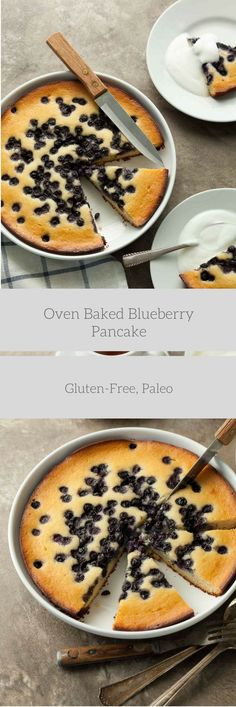 Baked Blueberry Pancake (Gluten-Free, Paleo) - If you love pancakes for breakfast but don't love all the fussing at the stove then this recipe is for you.